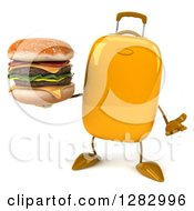 Clipart Of A 3d Yellow Suitcase Character Shrugging And Holding A Double Cheeseburger Royalty Free Illustration