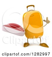 Clipart Of A 3d Yellow Suitcase Character Holding Up A Finger And A Beef Steak Royalty Free Illustration