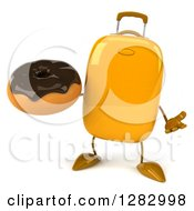 Clipart Of A 3d Yellow Suitcase Character Shrugging And Holding A Chocolate Frosted Donut Royalty Free Illustration