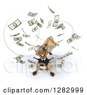 Clipart Of A 3d Bespectacled Business Squirrel Looking Up With Raining Money Royalty Free Illustration