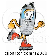 Clipart Picture Of A Wireless Cellular Telephone Mascot Cartoon Character Roller Blading On Inline Skates