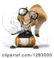 Clipart Of A 3d Bespectacled Business Squirrel Holding And Pointing To A Dollar Symbol Royalty Free Illustration