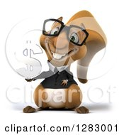 Clipart Of A 3d Bespectacled Business Squirrel Holding A Dollar Symbol Royalty Free Illustration
