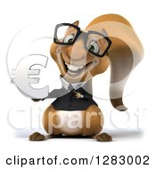 Clipart Of A 3d Bespectacled Business Squirrel Holding And Pointing To A Euro Symbol Royalty Free Illustration