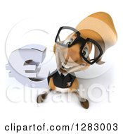 Clipart Of A 3d Bespectacled Business Squirrel Holding Up A Euro Symbol Royalty Free Illustration