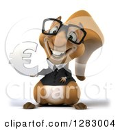 Clipart Of A 3d Bespectacled Business Squirrel Holding A Euro Symbol Royalty Free Illustration