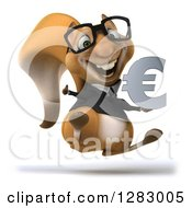Clipart Of A 3d Bespectacled Business Squirrel Hopping Holding A Thumb Up And A Euro Symbol Royalty Free Illustration