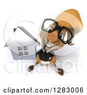 Clipart Of A 3d Bespectacled Business Squirrel Holding Up A House Royalty Free Illustration