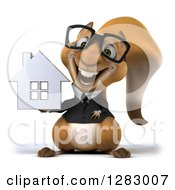 Clipart Of A 3d Bespectacled Business Squirrel Holding A House Royalty Free Illustration