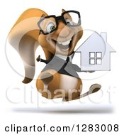 Clipart Of A 3d Bespectacled Business Squirrel Hopping Holding A Thumb Up And A House Royalty Free Illustration