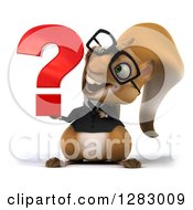 Clipart Of A 3d Bespectacled Business Squirrel Holding And Looking At A Question Mark Royalty Free Illustration