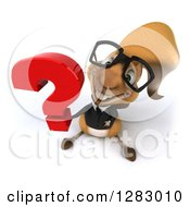 Clipart Of A 3d Bespectacled Business Squirrel Holding Up A Question Mark Royalty Free Illustration