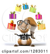 Clipart Of A 3d Bespectacled Business Squirrel Juggling Gifts Royalty Free Illustration