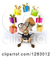 Clipart Of A 3d Bespectacled Business Squirrel Looking Up And Juggling Gifts Royalty Free Illustration