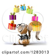 Clipart Of A 3d Bespectacled Business Squirrel Facing Left And Juggling Gifts Royalty Free Illustration