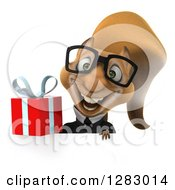 Clipart Of A 3d Bespectacled Business Squirrel Holding A Gift Over A Sign Royalty Free Illustration
