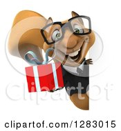 Clipart Of A 3d Bespectacled Business Squirrel Holding A Gift Around A Sign Royalty Free Illustration