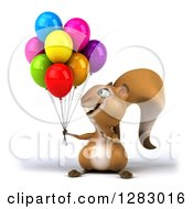 Clipart Of A 3d Squirrel Character Holding And Pointing To Party Balloons Royalty Free Illustration