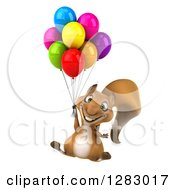 Clipart Of A 3d Squirrel Character Floating With Party Balloons Royalty Free Illustration