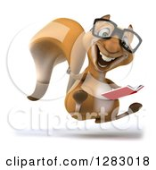 Clipart Of A 3d Bespectacled Squirrel Character Facing Right Hopping Holding A Thumb Up And A Book Royalty Free Illustration