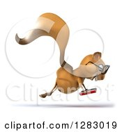 Clipart Of A 3d Bespectacled Squirrel Character Facing Right Hopping And Reading A Book Royalty Free Illustration