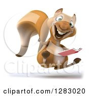 Clipart Of A 3d Squirrel Character Facing Right Hopping Holding A Thumb Up And A Book Royalty Free Illustration