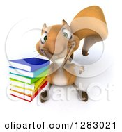 Clipart Of A 3d Squirrel Character Holding Up A Thumb And Stack Of Books Royalty Free Illustration
