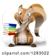 Clipart Of A 3d Squirrel Character Holding A Stack Of Books Royalty Free Illustration