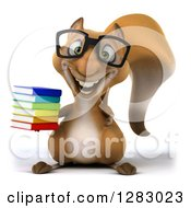 Clipart Of A 3d Bespectacled Squirrel Character Holding A Stack Of Books Royalty Free Illustration