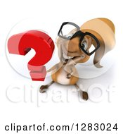 Clipart Of A 3d Bespectacled Squirrel Character Holding Up A Question Mark Royalty Free Illustration