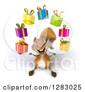 Clipart Of A 3d Squirrel Character Looking Up And Juggling Gifts Royalty Free Illustration