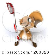 Clipart Of A 3d Squirrel Character Holding Up A Toothbrush Royalty Free Illustration
