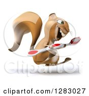 Clipart Of A 3d Squirrel Character Facing Right Hopping And Holding A Toothbrush Royalty Free Illustration