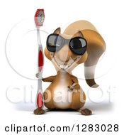 Clipart Of A 3d Squirrel Character Wearing Sunglasses And Holding A Giant Toothbrush Royalty Free Illustration