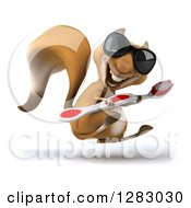 Clipart Of A 3d Squirrel Character Wearing Sunglasses Facing Right And Hopping With A Giant Toothbrush Royalty Free Illustration