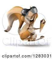Clipart Of A 3d Squirrel Character Wearing Sunglasses Facing Right And Hopping With A Waffle Ice Cream Cone Royalty Free Illustration