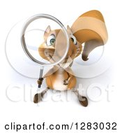 3d Squirrel Character Looking Up Through A Magnifying Glass