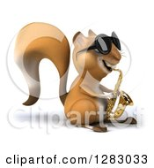Clipart Of A 3d Squirrel Musician Character Wearing Sunglasses Facing Right And Playing A Saxophone Royalty Free Illustration