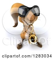 Clipart Of A 3d Squirrel Musician Character Wearing Sunglasses And Playing A Saxophone Royalty Free Illustration