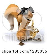 Clipart Of A 3d Squirrel Musician Character Wearing Sunglasses Facing Slightly Right And Playing A Saxophone Royalty Free Illustration