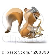 Clipart Of A 3d Squirrel Musician Character Facing Right Hopping Wearing Sunglasses And Playing A Saxophone Royalty Free Illustration