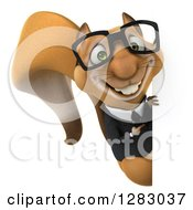 Clipart Of A 3d Bespectacled Business Squirrel Character Smiling And Pointing Around A Sign Royalty Free Illustration