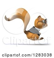 Clipart Of A 3d Bespectacled Business Squirrel Character Facing Right And Hopping Royalty Free Illustration