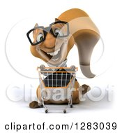 Clipart Of A 3d Bespectacled Business Squirrel Character Pushing An Empty Shopping Cart Royalty Free Illustration