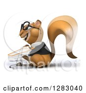 Clipart Of A 3d Bespectacled Business Squirrel Character Facing Left And Pushing An Empty Shopping Cart Royalty Free Illustration