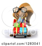 Clipart Of A 3d Bespectacled Business Squirrel Character Pushing Gifts On A Dolly Royalty Free Illustration