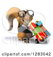 Clipart Of A 3d Bespectacled Business Squirrel Character Facing Slightly Right And Pushing Gifts On A Dolly Royalty Free Illustration