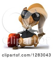 Clipart Of A 3d Business Squirrel Character Traveler Wearing Sunglasses And Walking With Rolling Luggage Royalty Free Illustration