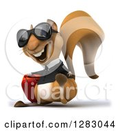 Clipart Of A 3d Business Squirrel Character Traveler Wearing Sunglasses Facing Slightly Left And Walking With Rolling Luggage Royalty Free Illustration
