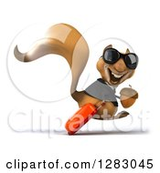 Clipart Of A 3d Business Squirrel Character Traveler Facing Right Wearing Sunglasses And Hopping With An Acorn And Rolling Luggage Royalty Free Illustration